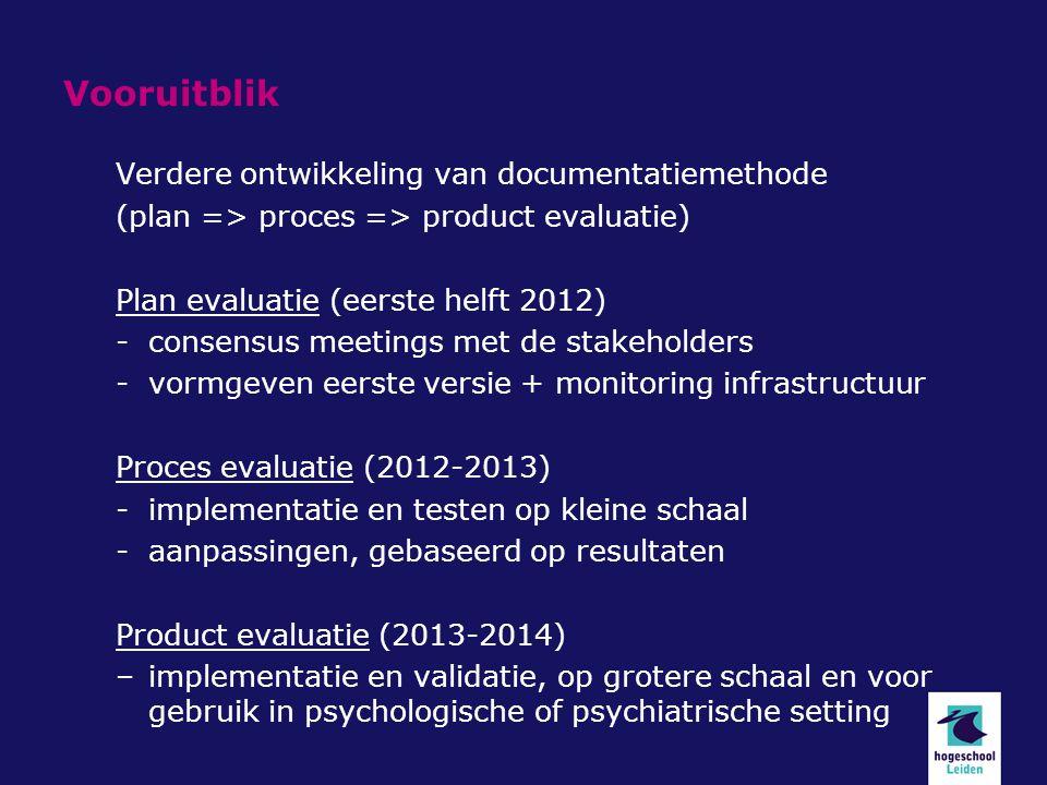 Vooruitblik Verdere ontwikkeling van documentatiemethode (plan => proces => product evaluatie) Plan evaluatie (eerste helft 2012) -consensus meetings