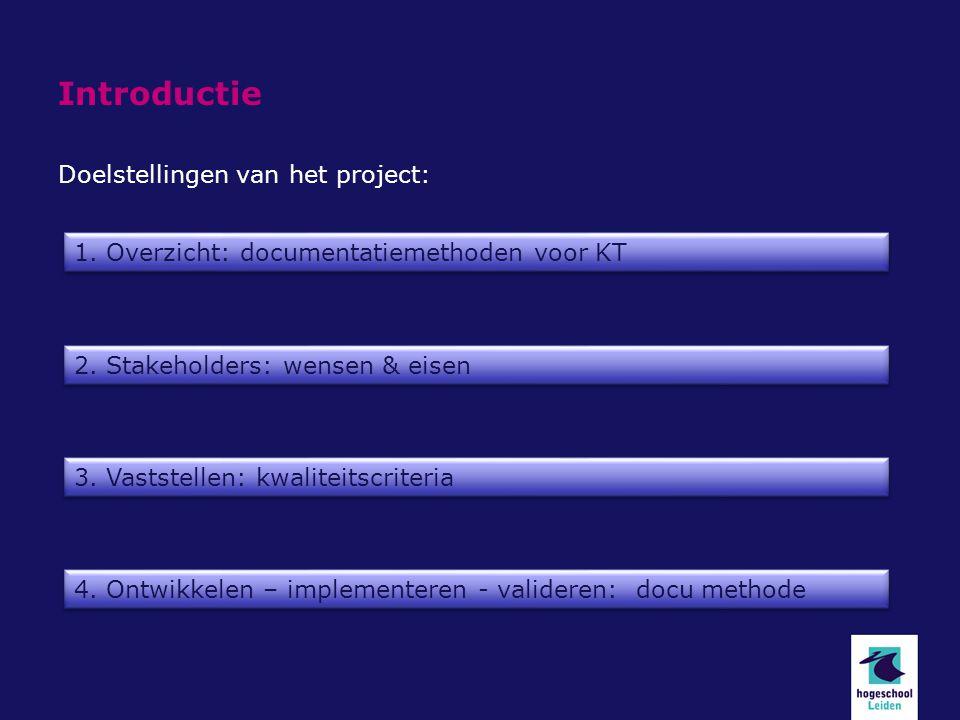 Introductie Doelstellingen van het project: 1. Overzicht: documentatiemethoden voor KT 2. Stakeholders: wensen & eisen 3. Vaststellen: kwaliteitscrite