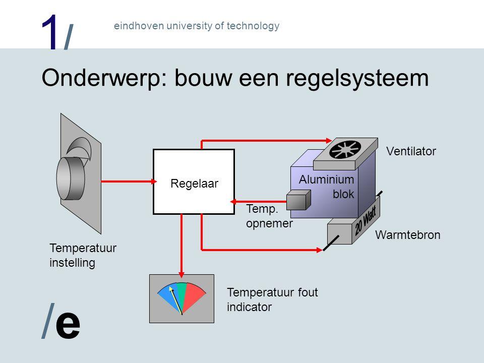 1/1/ /e/e eindhoven university of technology Warmtebron Onderwerp: bouw een regelsysteem Aluminium blok Ventilator Temp.