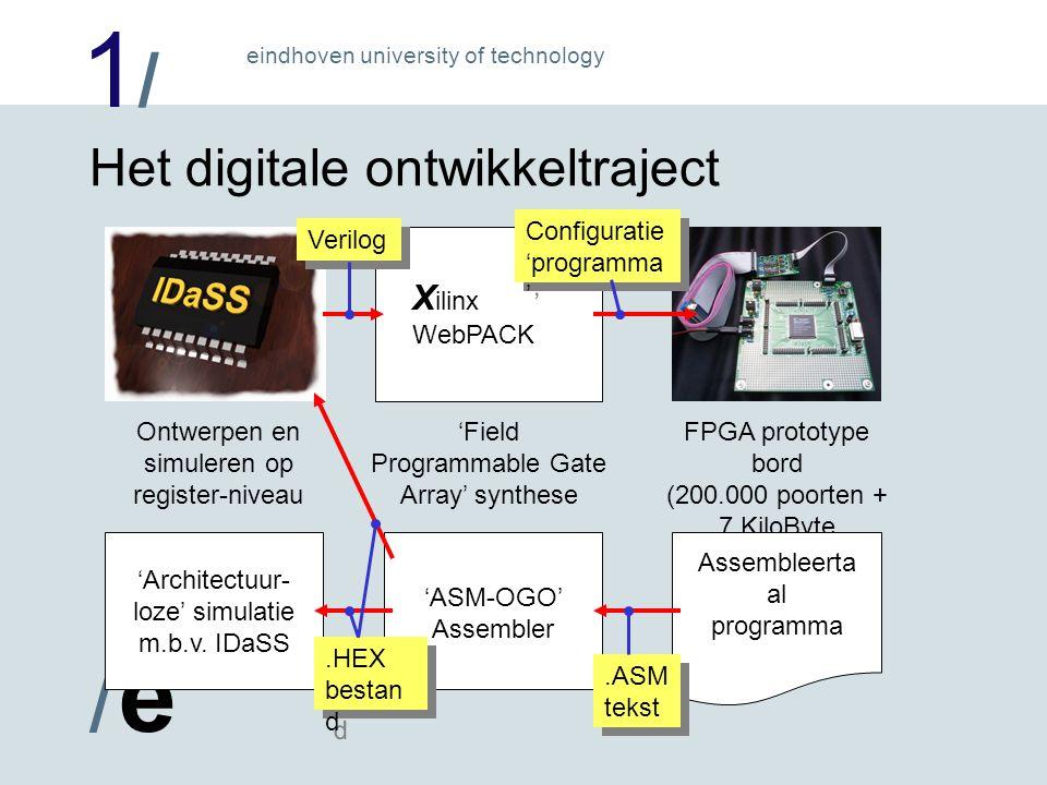 1/1/ /e/e eindhoven university of technology Het digitale ontwikkeltraject FPGA prototype bord (200.000 poorten + 7 KiloByte geheugen) Assembleerta al programma 'ASM-OGO' Assembler 'Architectuur- loze' simulatie m.b.v.
