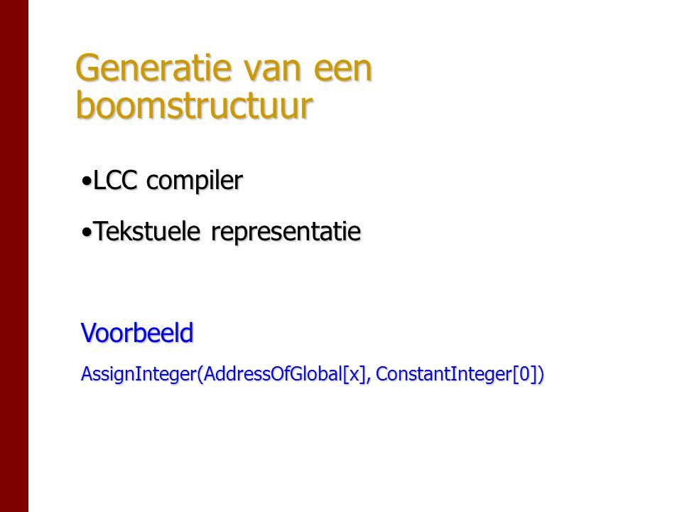 Generatie van een boomstructuur LCC compilerLCC compiler Tekstuele representatieTekstuele representatieVoorbeeld AssignInteger(AddressOfGlobal[x], ConstantInteger[0])