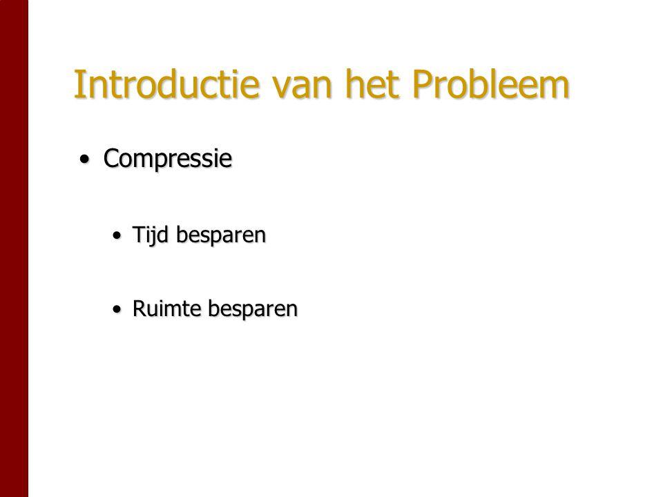 Introductie van het Probleem CompressieCompressie Tijd besparenTijd besparen Ruimte besparenRuimte besparen