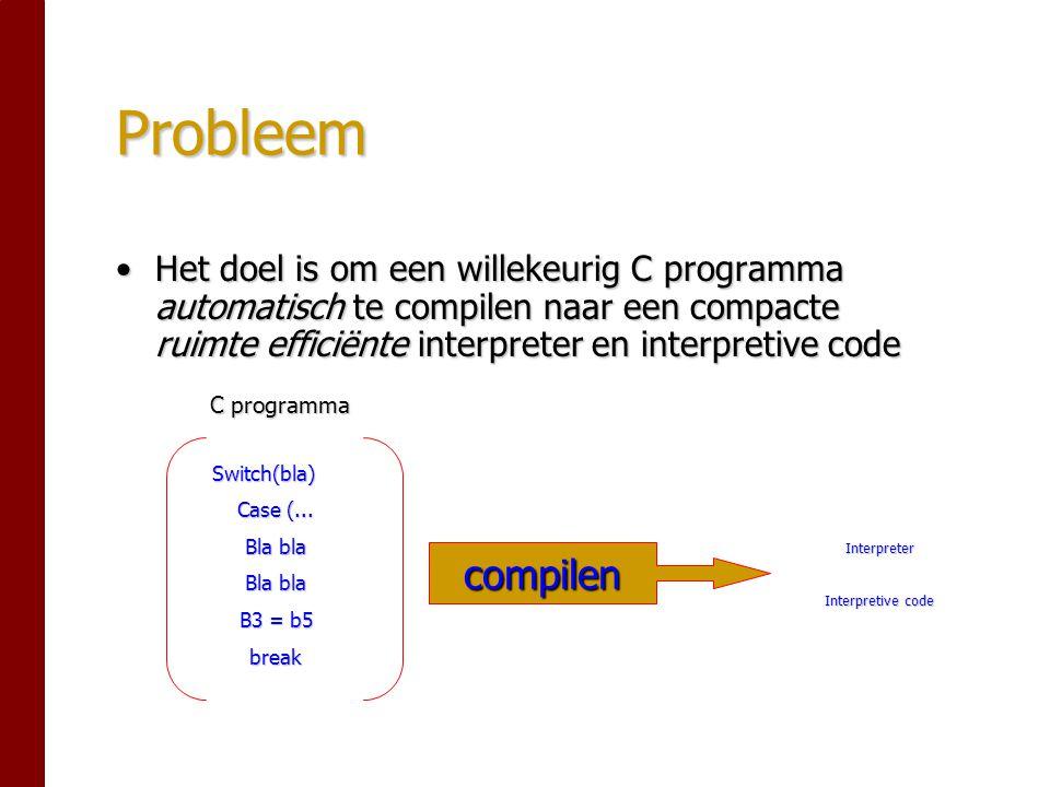 Probleem Het doel is om een willekeurig C programma automatisch te compilen naar een compacte ruimte efficiënte interpreter en interpretive codeHet doel is om een willekeurig C programma automatisch te compilen naar een compacte ruimte efficiënte interpreter en interpretive code C programma Switch(bla) Case (...