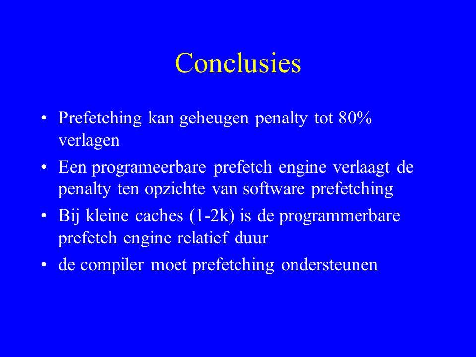 Conclusies Prefetching kan geheugen penalty tot 80% verlagen Een programeerbare prefetch engine verlaagt de penalty ten opzichte van software prefetching Bij kleine caches (1-2k) is de programmerbare prefetch engine relatief duur de compiler moet prefetching ondersteunen
