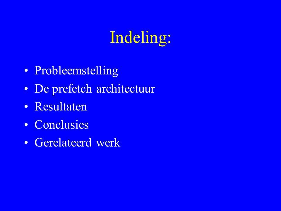 Indeling: Probleemstelling De prefetch architectuur Resultaten Conclusies Gerelateerd werk