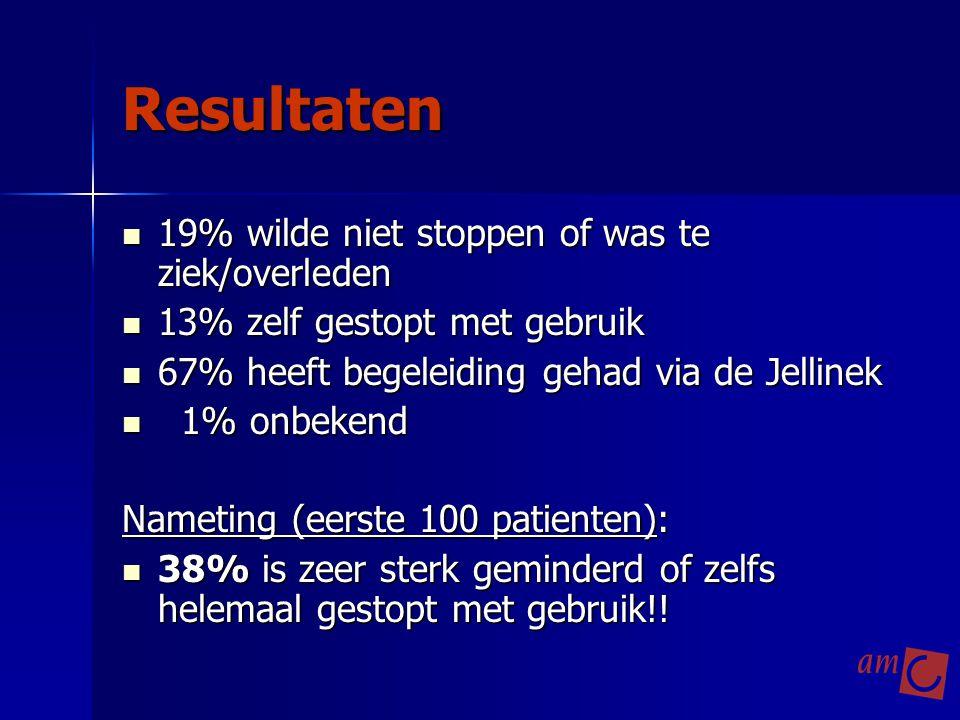 Resultaten 19% wilde niet stoppen of was te ziek/overleden 19% wilde niet stoppen of was te ziek/overleden 13% zelf gestopt met gebruik 13% zelf gesto