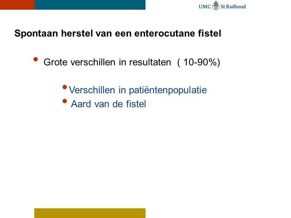 Spontaan herstel van een enterocutane fistel Grote verschillen in resultaten ( 10-90%) Verschillen in patiëntenpopulatie Aard van de fistel
