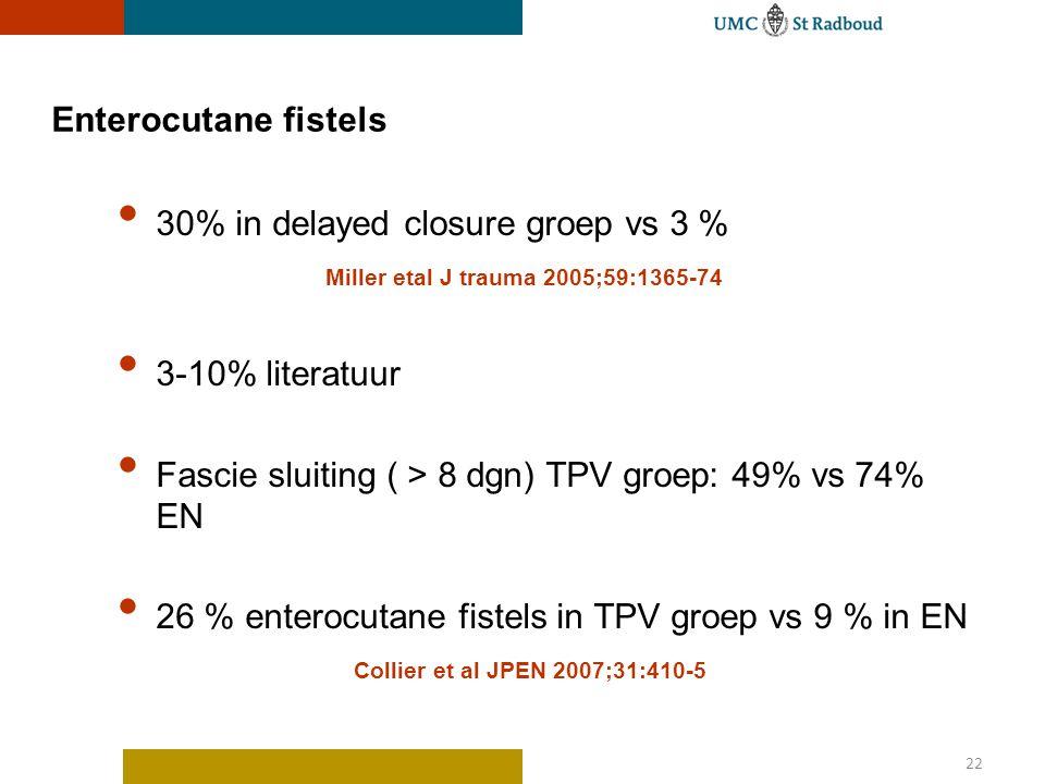 22 Enterocutane fistels 30% in delayed closure groep vs 3 % Miller etal J trauma 2005;59:1365-74 3-10% literatuur Fascie sluiting ( > 8 dgn) TPV groep: 49% vs 74% EN 26 % enterocutane fistels in TPV groep vs 9 % in EN Collier et al JPEN 2007;31:410-5