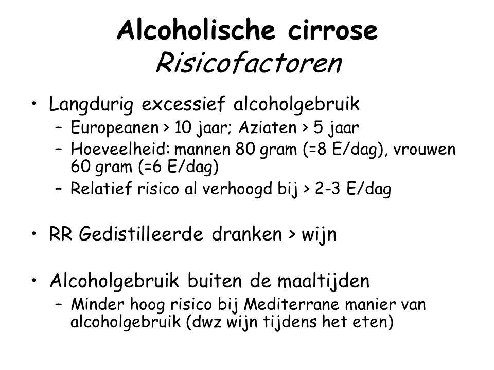 Alcoholische cirrose Risicofactoren Langdurig excessief alcoholgebruik –Europeanen > 10 jaar; Aziaten > 5 jaar –Hoeveelheid: mannen 80 gram (=8 E/dag)