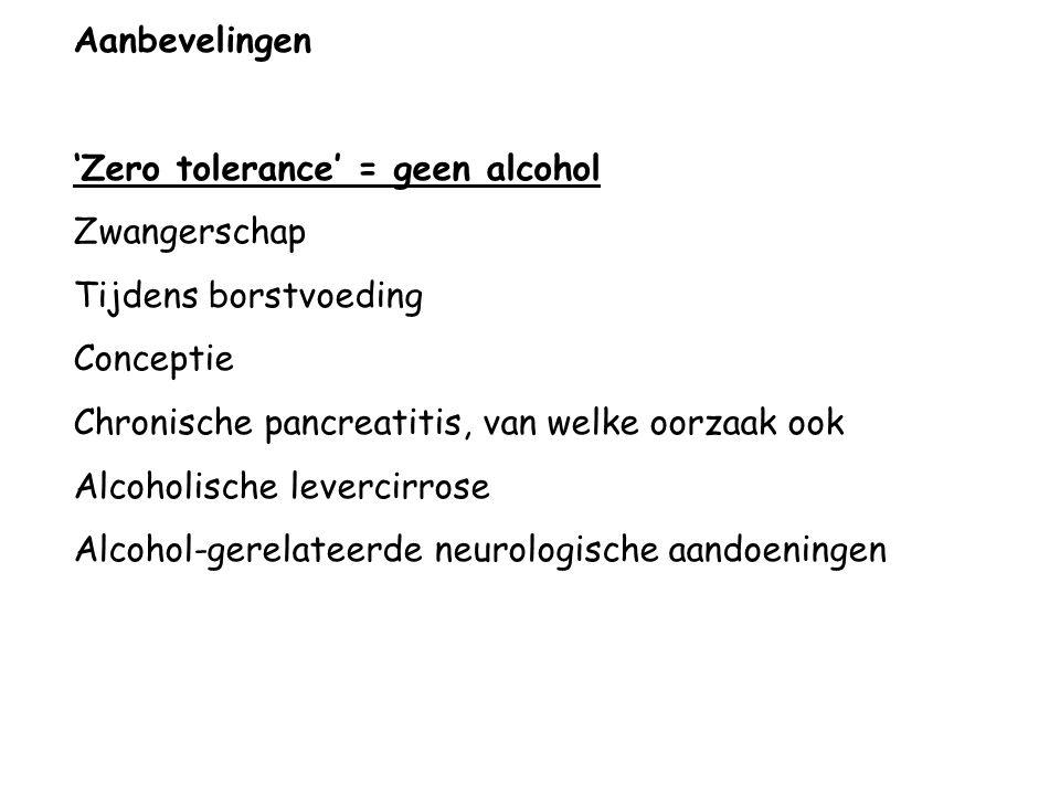Aanbevelingen 'Zero tolerance' = geen alcohol Zwangerschap Tijdens borstvoeding Conceptie Chronische pancreatitis, van welke oorzaak ook Alcoholische