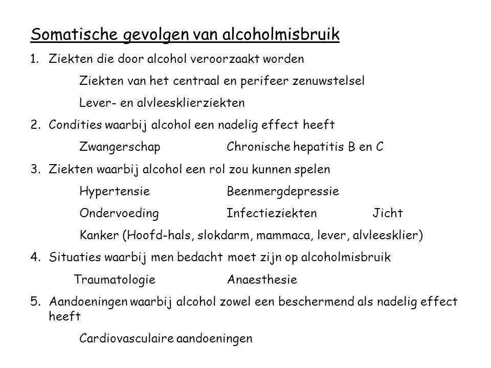 Somatische gevolgen van alcoholmisbruik 1.Ziekten die door alcohol veroorzaakt worden Ziekten van het centraal en perifeer zenuwstelsel Lever- en alvl