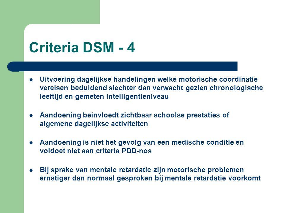 Criteria DSM - 4 Uitvoering dagelijkse handelingen welke motorische coordinatie vereisen beduidend slechter dan verwacht gezien chronologische leeftij