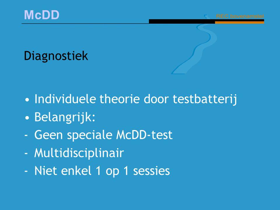 McDD Diagnostiek Individuele theorie door testbatterij Belangrijk: -Geen speciale McDD-test -Multidisciplinair -Niet enkel 1 op 1 sessies