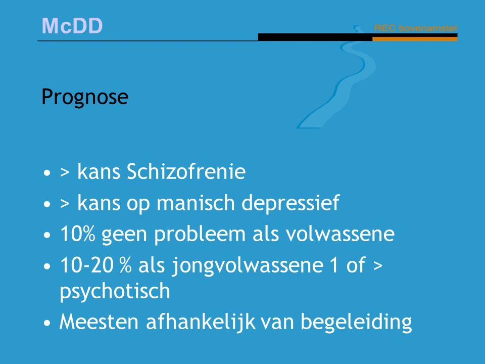 McDD Prognose > kans Schizofrenie > kans op manisch depressief 10% geen probleem als volwassene 10-20 % als jongvolwassene 1 of > psychotisch Meesten