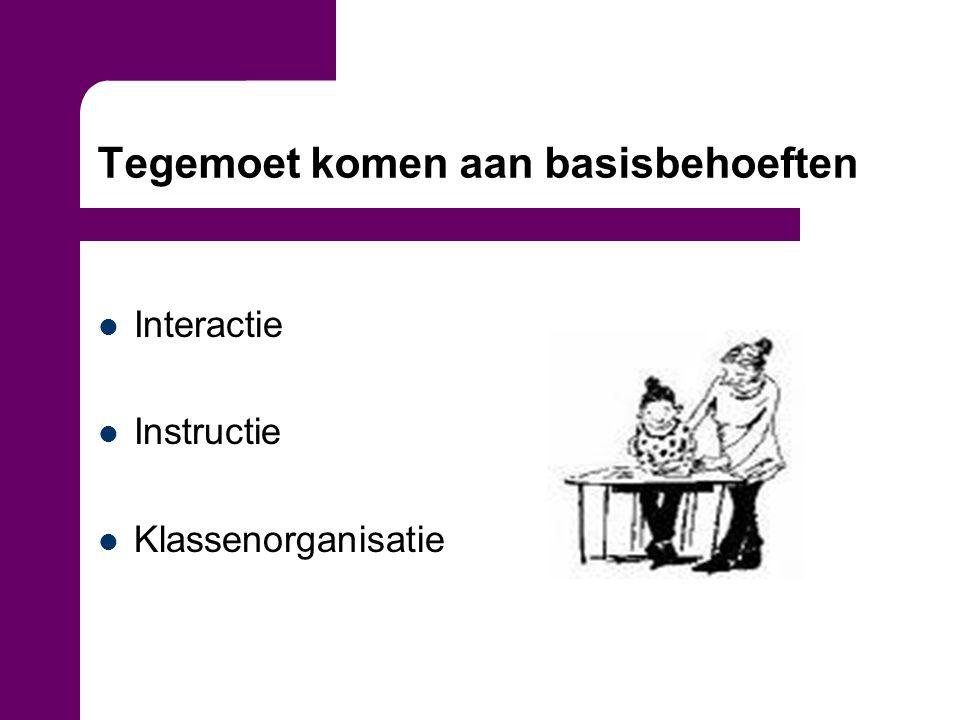 Tegemoet komen aan basisbehoeften Interactie Instructie Klassenorganisatie