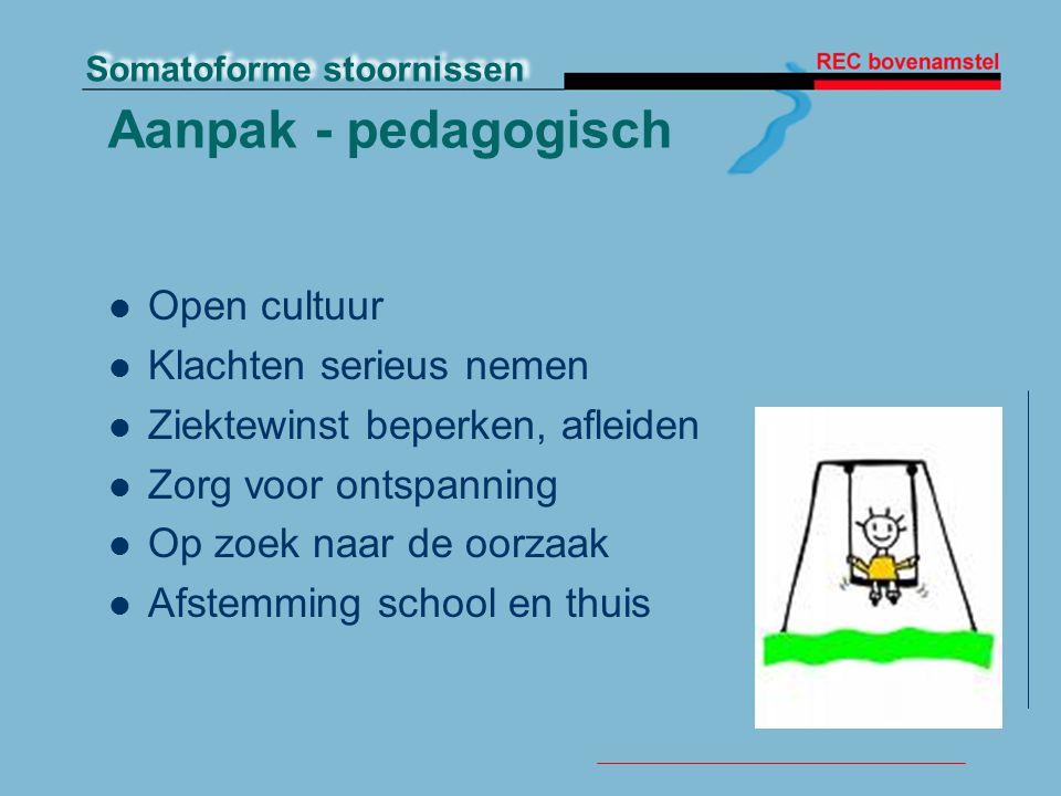 Somatoforme stoornissen Aanpak - pedagogisch Open cultuur Klachten serieus nemen Ziektewinst beperken, afleiden Zorg voor ontspanning Op zoek naar de oorzaak Afstemming school en thuis