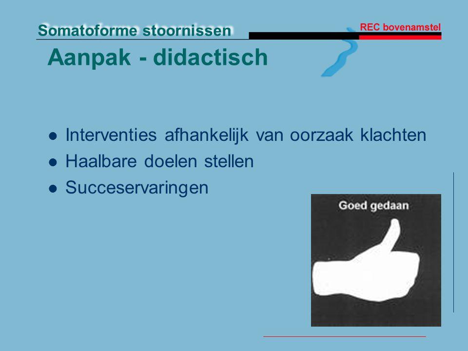 Somatoforme stoornissen Aanpak - didactisch Interventies afhankelijk van oorzaak klachten Haalbare doelen stellen Succeservaringen
