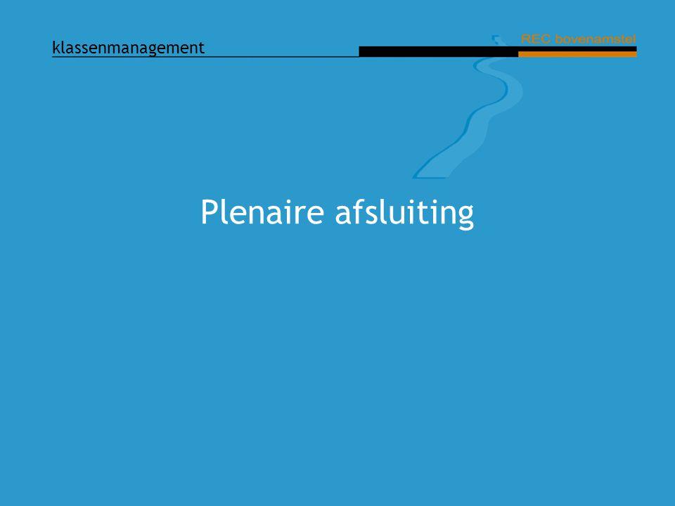 klassenmanagement Plenaire afsluiting