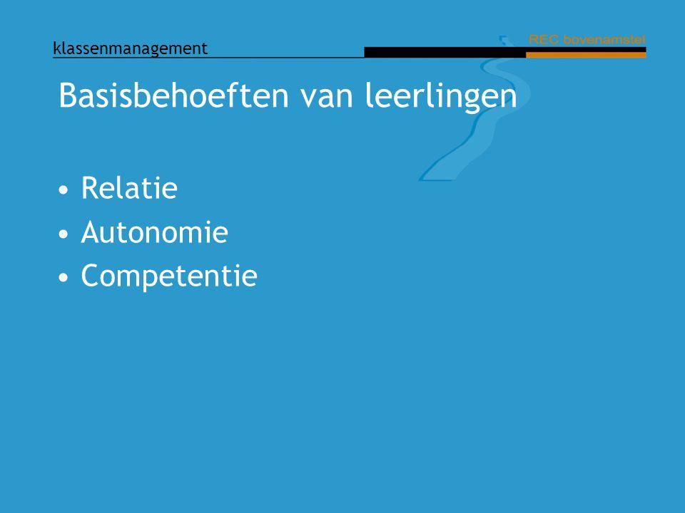 klassenmanagement Basisbehoeften van leerlingen Relatie Autonomie Competentie