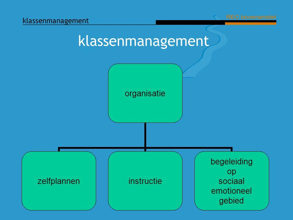 klassenmanagement organisatie zelfplanneninstructie begeleiding op sociaal emotioneel gebied
