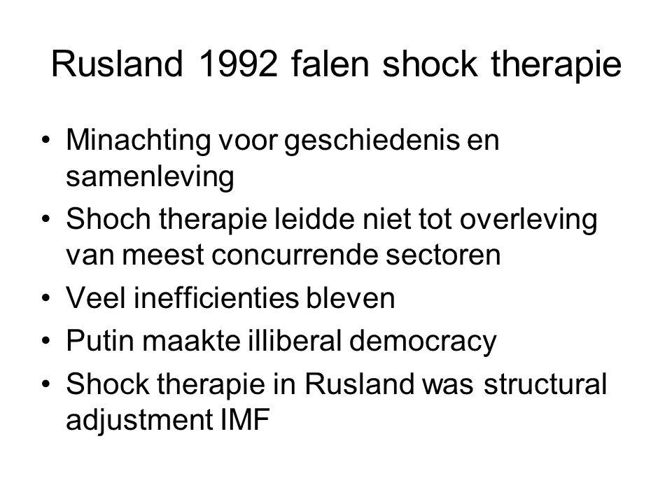 Rusland 1992 falen shock therapie Minachting voor geschiedenis en samenleving Shoch therapie leidde niet tot overleving van meest concurrende sectoren