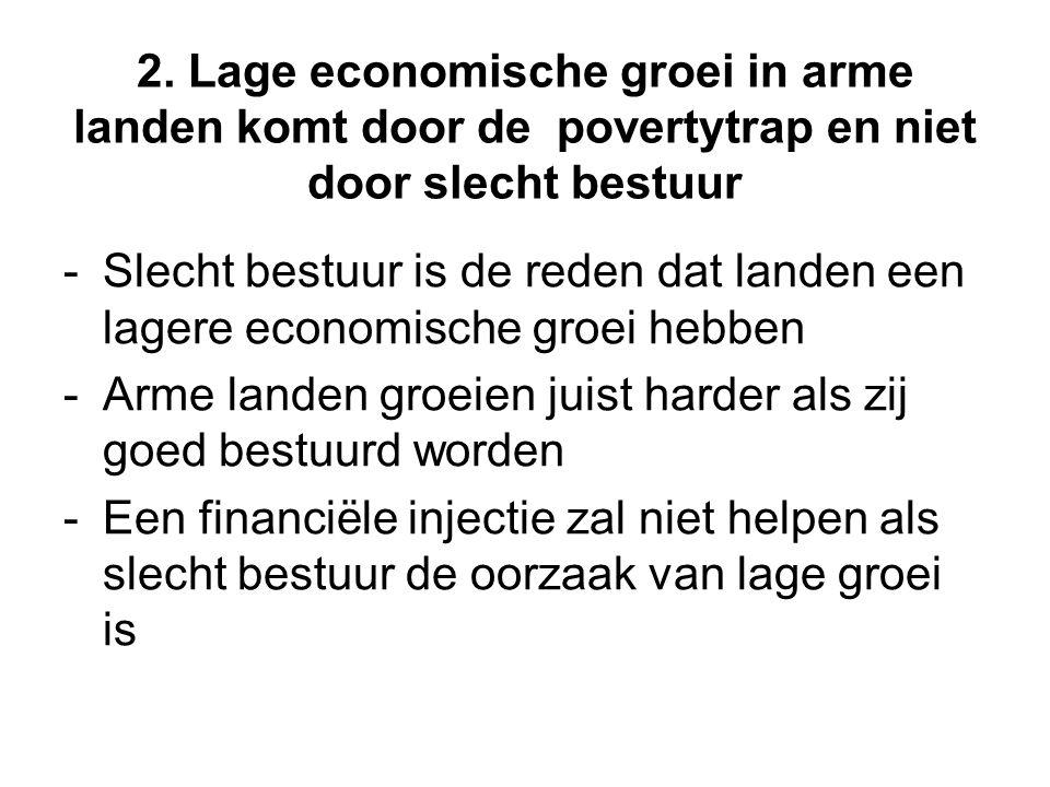 2. Lage economische groei in arme landen komt door de povertytrap en niet door slecht bestuur - Slecht bestuur is de reden dat landen een lagere econo