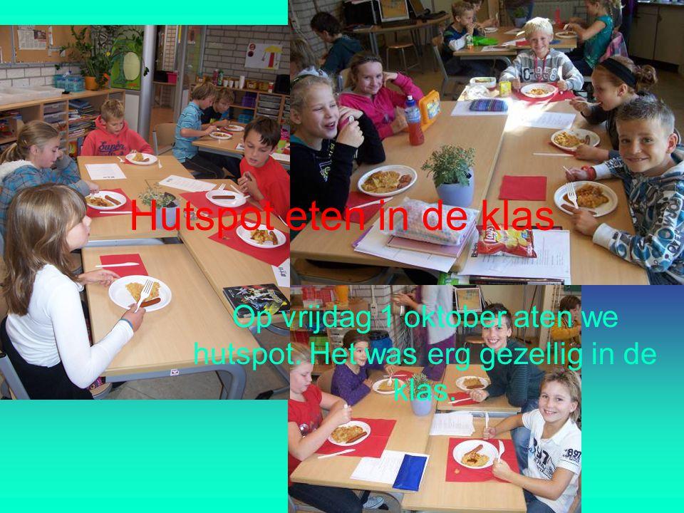 Hutspot eten in de klas Op vrijdag 1 oktober aten we hutspot. Het was erg gezellig in de klas.