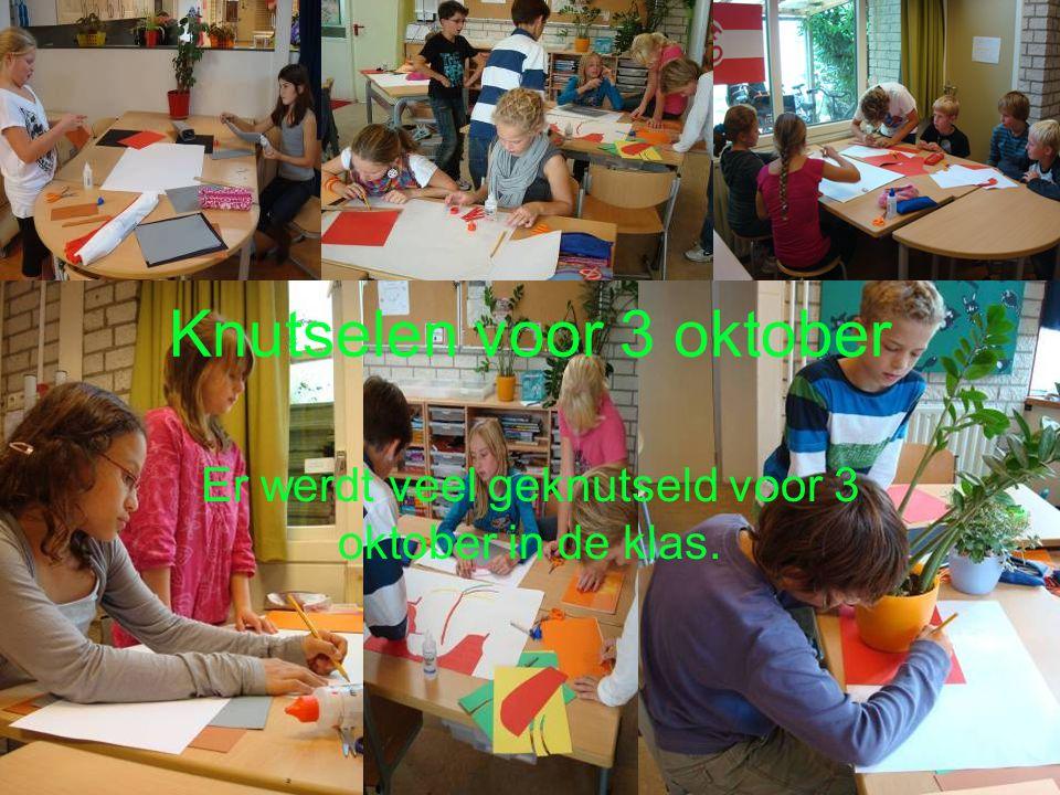 Knutselen voor 3 oktober Er werdt veel geknutseld voor 3 oktober in de klas.