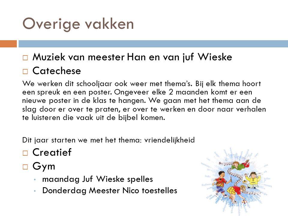 Overige vakken  Muziek van meester Han en van juf Wieske  Catechese We werken dit schooljaar ook weer met thema's.