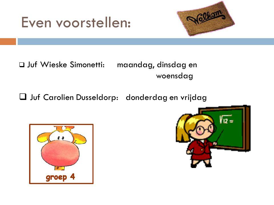Even voorstellen:  Juf Wieske Simonetti: maandag, dinsdag en woensdag  Juf Carolien Dusseldorp: donderdag en vrijdag