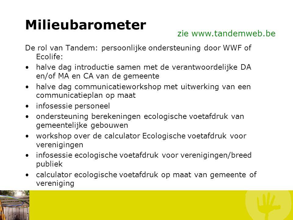 Milieubarometer De rol van Tandem: persoonlijke ondersteuning door WWF of Ecolife: –Begeleiding bij het uitwerken van een haalbaar campagnetraject. –B