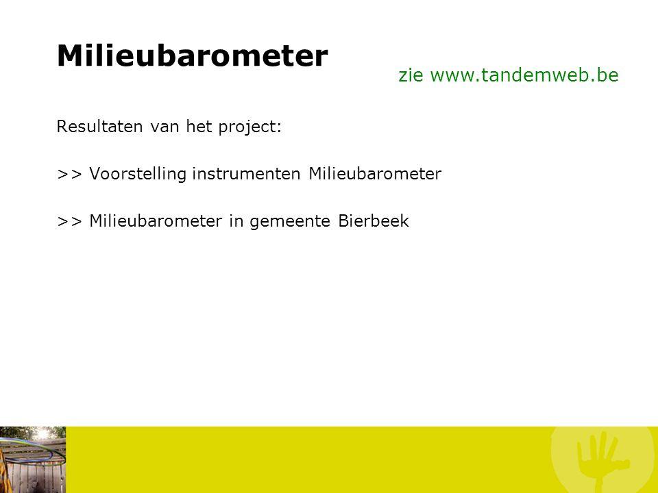Milieubarometer Tijdsinvestering: Dataverzameling (o.a. op www.lokalestatistieken.be) Starten op elk moment Stapsgewijze aanpak mogelijk (berekening e