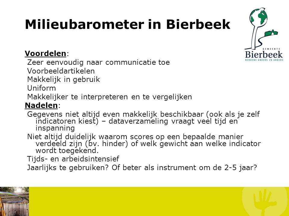 Milieubarometer in Bierbeek Historiek April 2005: eerste vraag naar interesse om deel te nemen aan DULOMI-project 02/05/2005: CBS-beslissing DULOMI-pr