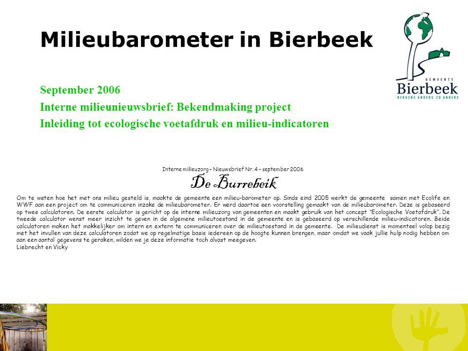 Milieubarometer in Bierbeek Kostprijs: Als pilootgemeente: € 1000 voor 2006-2007 + kosten communicatiemateriaal (beperkt) Tijdsinvestering: Vrij te be