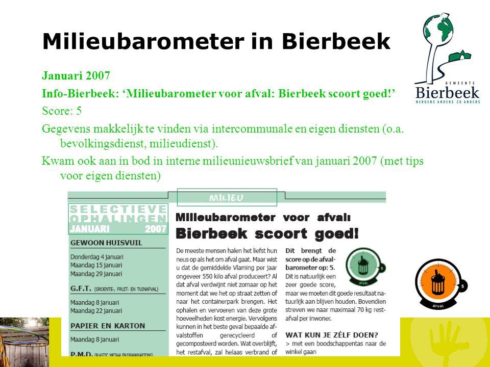 Milieubarometer in Bierbeek December 2006 Info-Bierbeek: 'De milieubarometer voor hinder en milieuzorg op school Score: Hinder: 5 (representatief?) –
