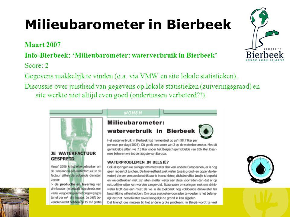 Milieubarometer in Bierbeek Januari 2007 Info-Bierbeek: 'Milieubarometer voor afval: Bierbeek scoort goed!' Score: 5 Gegevens makkelijk te vinden via