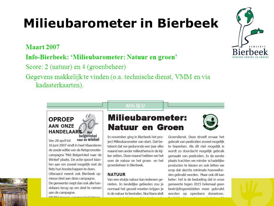 Milieubarometer in Bierbeek Maart 2007 Info-Bierbeek: 'Milieubarometer: waterverbruik in Bierbeek' Score: 2 Gegevens makkelijk te vinden (o.a. via VMW