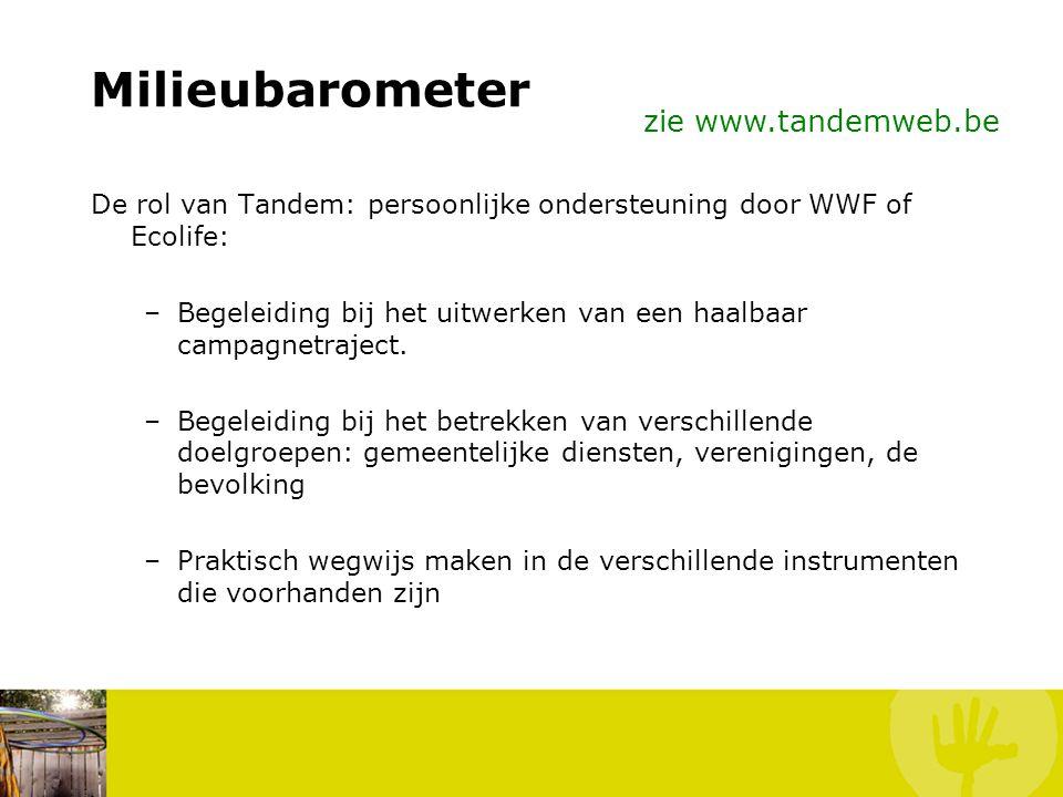 Milieubarometer Inbreng partners: wie deed wat? Gemeente: - berekening - communicatie - betrekken doelgroepen Vereniging(en): - berekening - communica
