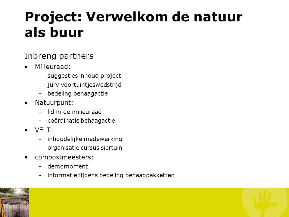 Project: Verwelkom de natuur als buur Inbreng partners Milieuraad: -suggesties inhoud project -jury voortuintjeswedstrijd -bedeling behaagactie Natuur