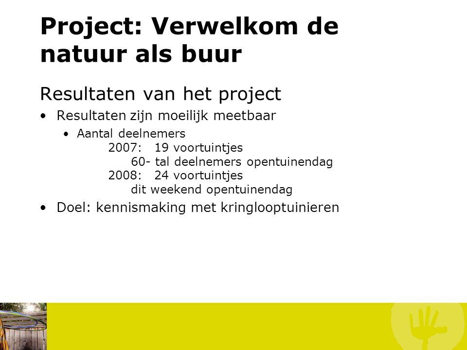 Project: Verwelkom de natuur als buur Resultaten van het project Resultaten zijn moeilijk meetbaar Aantal deelnemers 2007: 19 voortuintjes 60- tal dee
