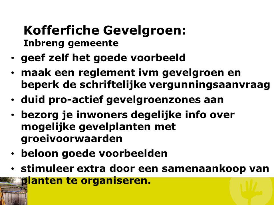 Kofferfiche Gevelgroen: Inbreng vereniging/lokale groep neem het initiatief om de gevelgroenactie bij de eigen groepsleden/buren/...