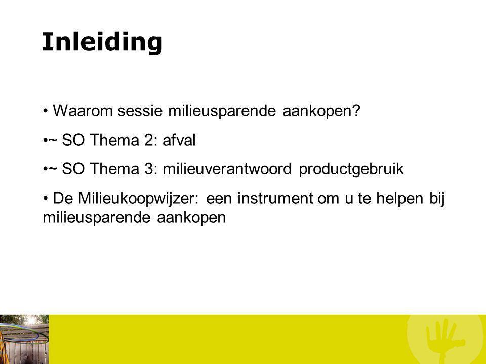 Inleiding Waarom sessie milieusparende aankopen? ~ SO Thema 2: afval ~ SO Thema 3: milieuverantwoord productgebruik De Milieukoopwijzer: een instrumen
