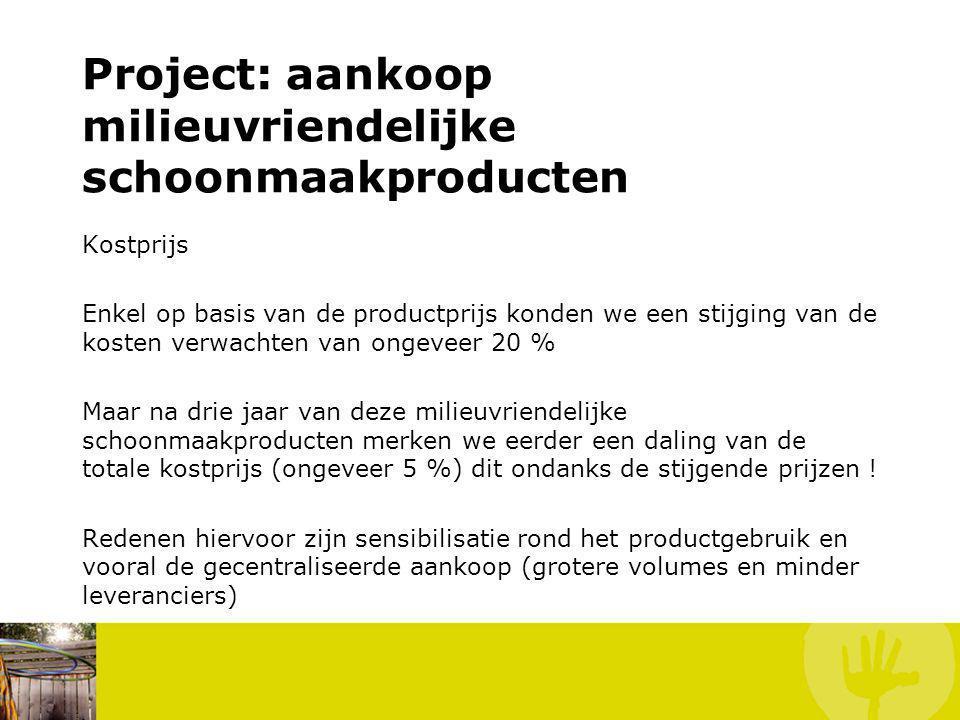 Kostprijs Enkel op basis van de productprijs konden we een stijging van de kosten verwachten van ongeveer 20 % Maar na drie jaar van deze milieuvriend