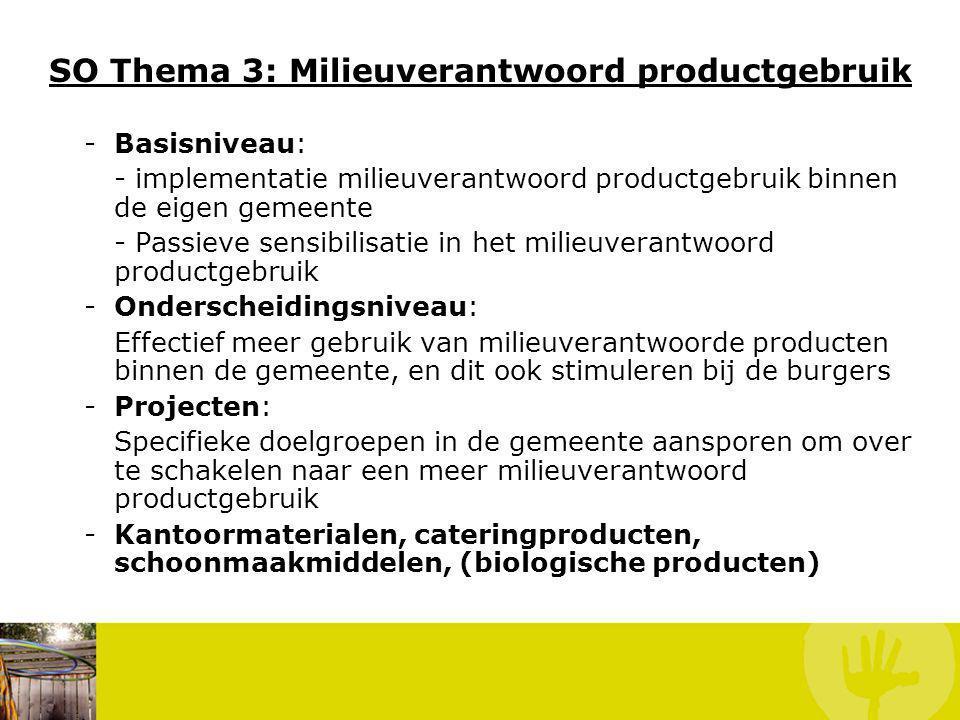 SO Thema 3: Milieuverantwoord productgebruik -Basisniveau: - implementatie milieuverantwoord productgebruik binnen de eigen gemeente - Passieve sensib
