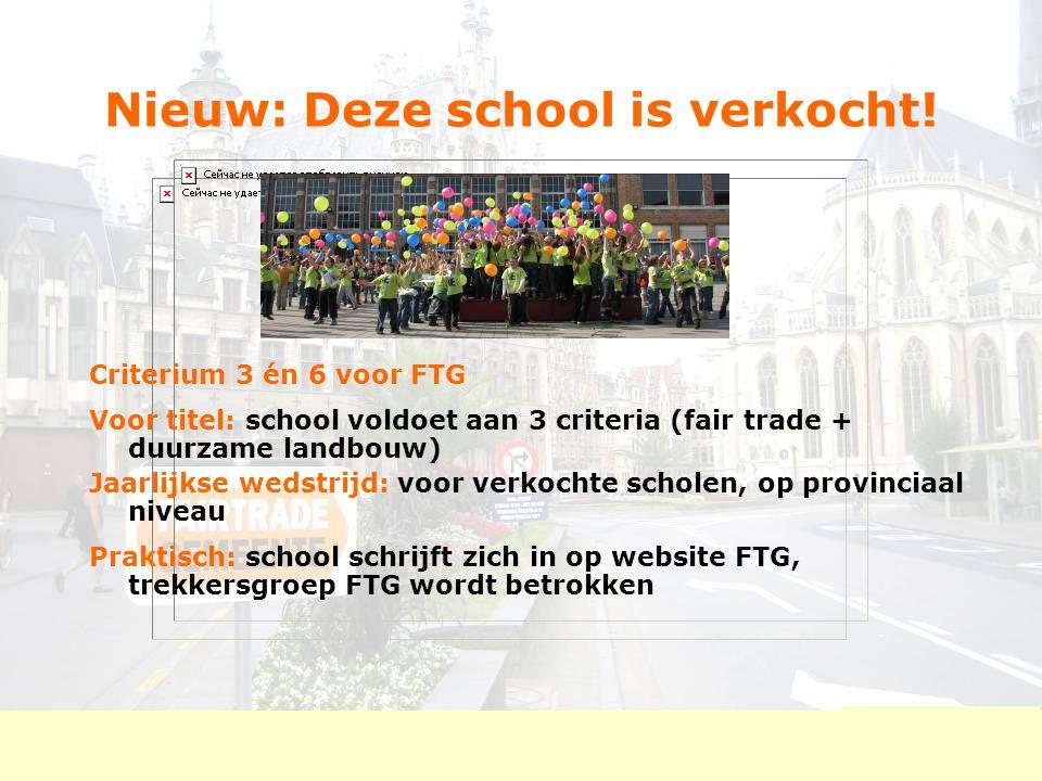 Nieuw: Deze school is verkocht! Criterium 3 én 6 voor FTG Voor titel: school voldoet aan 3 criteria (fair trade + duurzame landbouw) Jaarlijkse wedstr