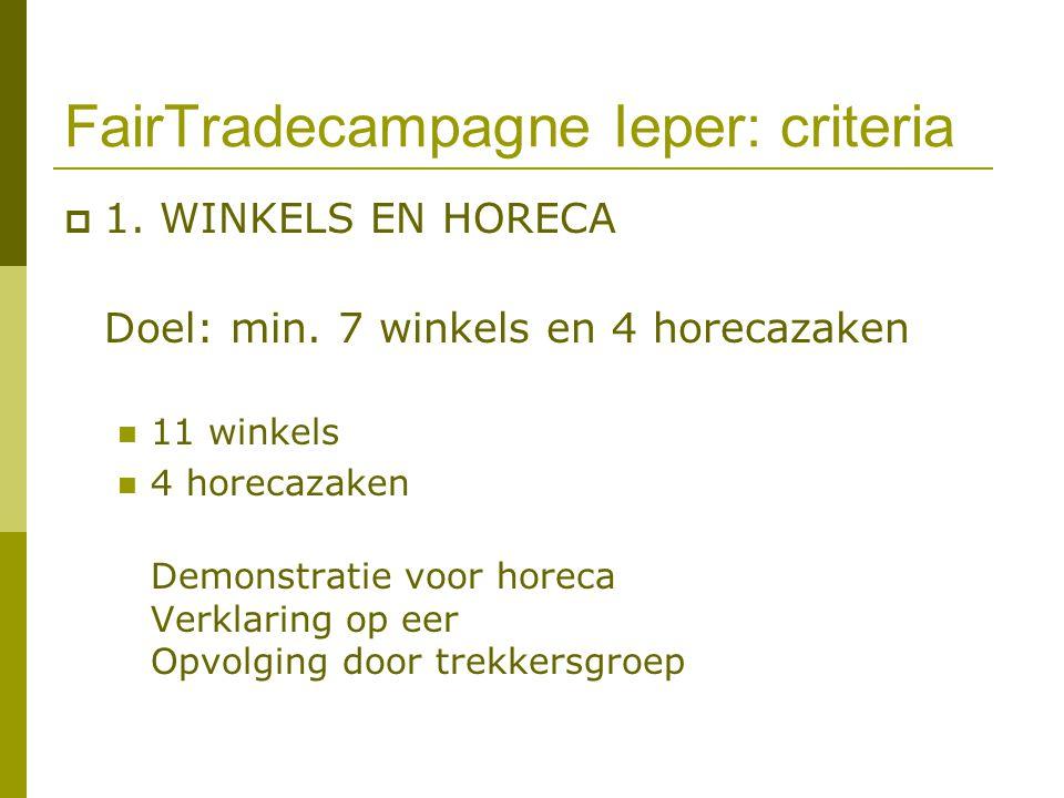 FairTradecampagne Ieper: criteria  1. WINKELS EN HORECA Doel: min. 7 winkels en 4 horecazaken 11 winkels 4 horecazaken Demonstratie voor horeca Verkl