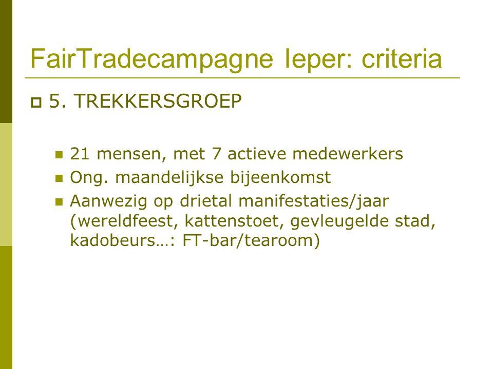 FairTradecampagne Ieper: criteria  5. TREKKERSGROEP 21 mensen, met 7 actieve medewerkers Ong. maandelijkse bijeenkomst Aanwezig op drietal manifestat