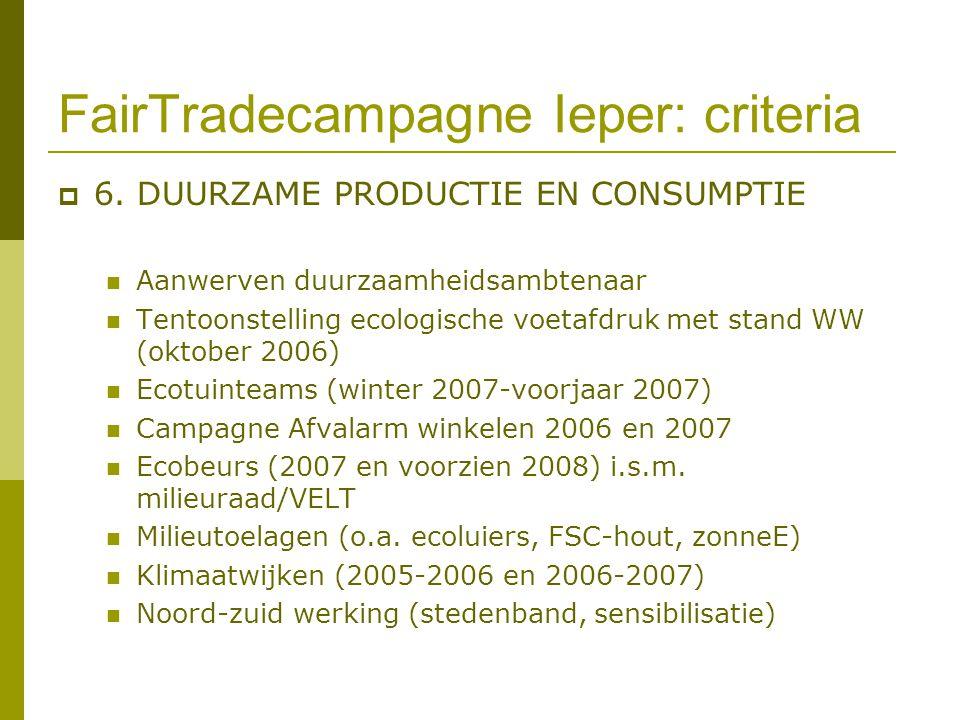 FairTradecampagne Ieper: criteria  6. DUURZAME PRODUCTIE EN CONSUMPTIE Aanwerven duurzaamheidsambtenaar Tentoonstelling ecologische voetafdruk met st