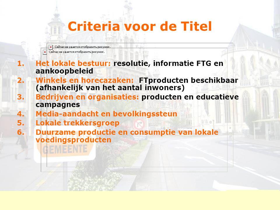 Criteria voor de Titel 1.Het lokale bestuur: resolutie, informatie FTG en aankoopbeleid 2.Winkels en horecazaken: FTproducten beschikbaar (afhankelijk
