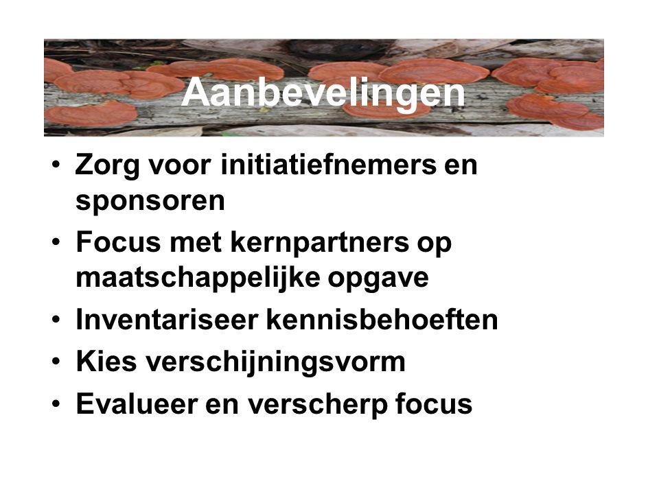 Zorg voor initiatiefnemers en sponsoren Focus met kernpartners op maatschappelijke opgave Inventariseer kennisbehoeften Kies verschijningsvorm Evalueer en verscherp focus Aanbevelingen